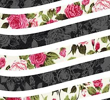 Pink and Black Rose Floral Print Curvy Stripes by Blkstrawberry