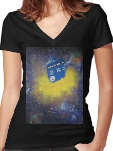 Blue Police Box  Women's Fitted V-Neck T-Shirt