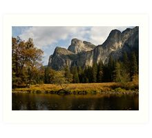 Mountain landscape by tranquil water in Yosemite Art Print