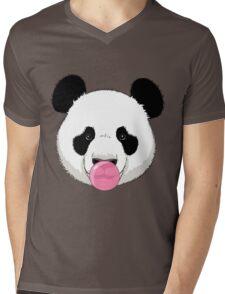 Panda and bubble gum Mens V-Neck T-Shirt