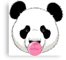 Panda and bubble gum Canvas Print