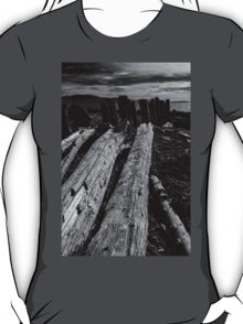 Driftwood Logs in Black and White T-Shirt