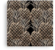 Faux Gold Leaf Pineapple Collage Canvas Print