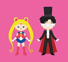 Sailor Moon and Tuxedo Mask by gabdoesdesign