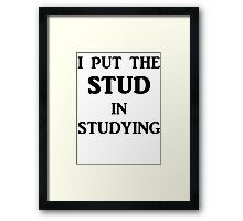I Put The STUD in Studying Framed Print