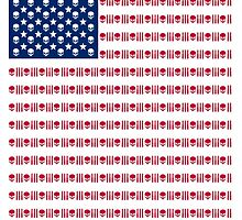 American flag skulls and bullets by dopenation