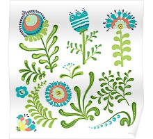 Elegance Seamless pattern with flowers, vector floral illustration in vintage style Poster