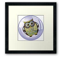 Owl In A Purple bubble - Fantastic Owl Art / Tshirt Design Framed Print