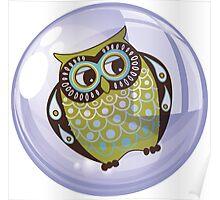 Owl In A Purple bubble - Fantastic Owl Art / Tshirt Design Poster
