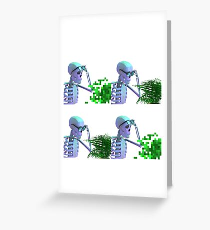 cool skeleton looking at plant Greeting Card