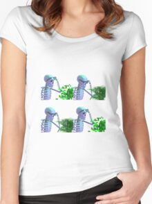 cool skeleton looking at plant Women's Fitted Scoop T-Shirt