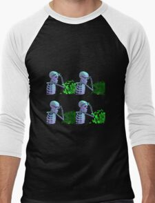 cool skeleton looking at plant Men's Baseball ¾ T-Shirt