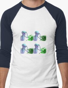 cool skeleton looking at plant Men's Baseball ¾ T-Shirt