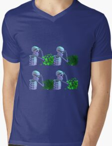 cool skeleton looking at plant Mens V-Neck T-Shirt