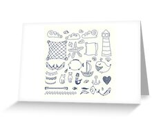 set cute retro sea objects collection. vector illustration Greeting Card