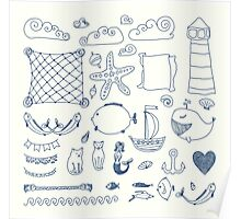set cute retro sea objects collection. vector illustration Poster