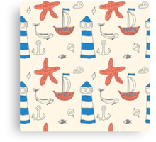 Seamless sea pattern. Vector illustration with marine elements. Canvas Print