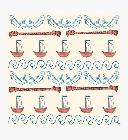 Seamless sea pattern. Vector illustration with marine elements. Photographic Print