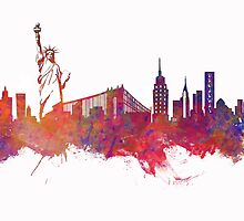 New York city Skyline red by JBJart