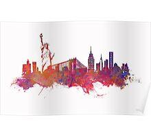 New York city Skyline red Poster