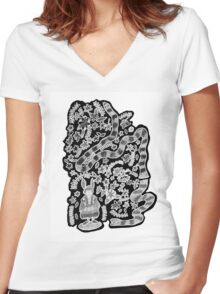 Courage B/W Women's Fitted V-Neck T-Shirt