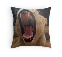 Lioness Yawns Throw Pillow