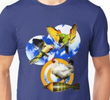 Parakeets Wielding Switchblades Attack a Chicken Sitting on a Mortar Unisex T-Shirt
