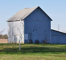 Blue barn and weather vane by mltrue