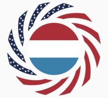 Luxembourg American Multinational Patriot Flag Series by Carbon-Fibre Media