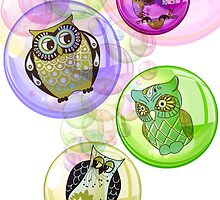 4 Bubbly Owls - Fantastic Owl Art / Tshirt Design by verypeculiar
