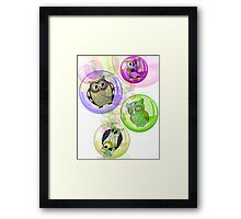 4 Bubbly Owls - Fantastic Owl Art / Tshirt Design Framed Print