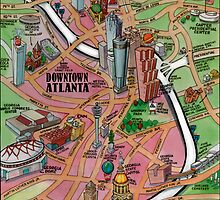 Downtown Atlanta Georgia Cartoon Map by Kevin Middleton