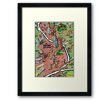 Downtown Atlanta Georgia Cartoon Map Framed Print