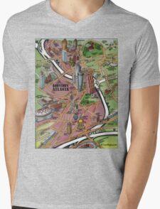 Downtown Atlanta Georgia Cartoon Map Mens V-Neck T-Shirt