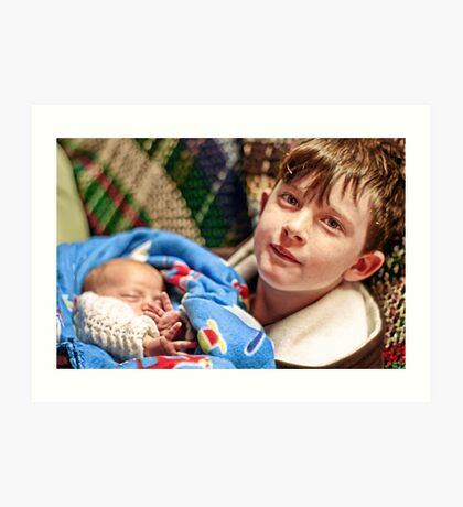 Portraits: Roman with his baby brother Art Print