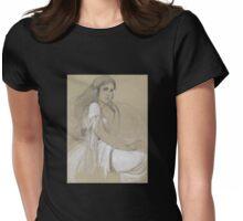 'Jaroslava Mucha' by Alphonse Mucha (Reproduction) Womens Fitted T-Shirt