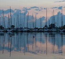 Pink and Blue Peace - Still Sailboat Reflections  by Georgia Mizuleva