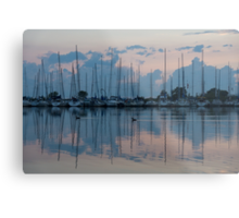 Pink and Blue Peace - Still Sailboat Reflections  Metal Print