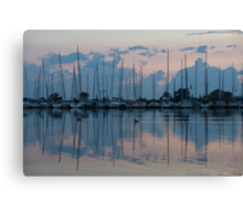 Pink and Blue Peace - Still Sailboat Reflections  Canvas Print