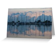 Pink and Blue Peace - Still Sailboat Reflections  Greeting Card