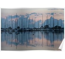 Pink and Blue Peace - Still Sailboat Reflections  Poster