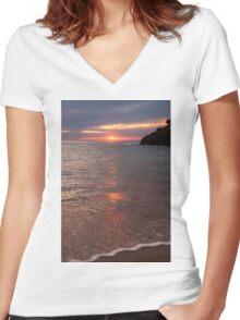 Sunset Sorrento Women's Fitted V-Neck T-Shirt