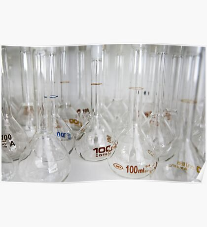 Belly test tubes standing in a chemistry lab Poster