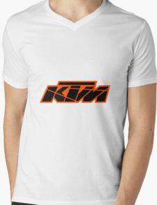 KTM Black on Orange Mens V-Neck T-Shirt