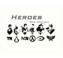 Heroes Headshots Landscape with Logos (Dark) Art Print