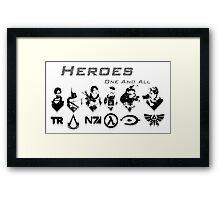 Heroes Headshots Landscape with Logos (Dark) Framed Print