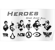 Heroes Headshots Landscape with Logos (Dark) Poster