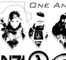 Heroes Headshots Landscape with Logos (Dark) Sticker