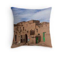 Taos Pueblo (Color Version), Taos, New Mexico Throw Pillow