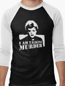 stencil Murder She Wrote Deadly Lady Men's Baseball ¾ T-Shirt